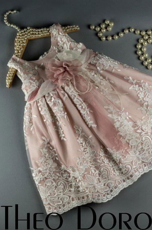 Baby Girl Pink Elegant Floral Baptismal Dress