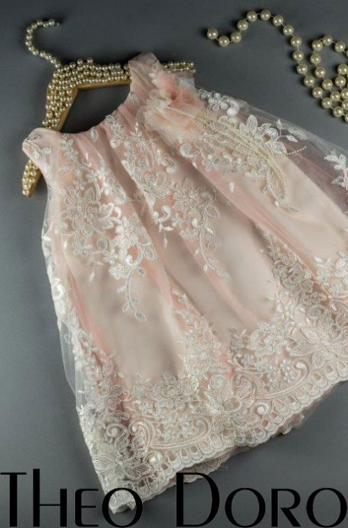 Baby Girl Light Pink Lace Floral Baptismal Dress