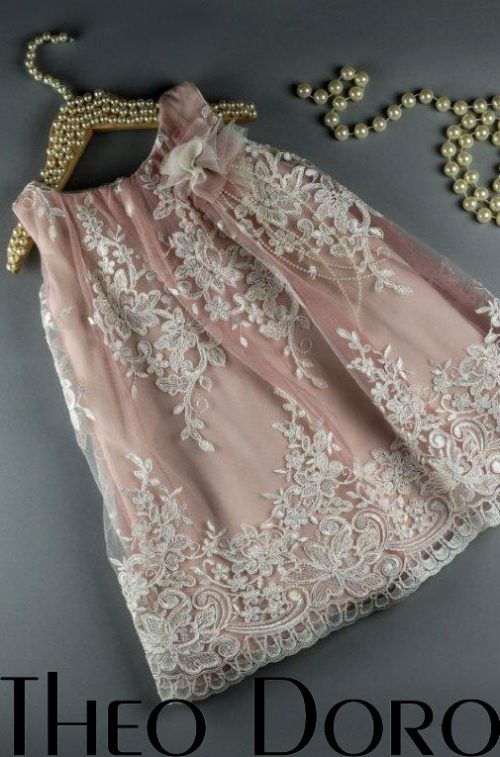 Baby Girl Pink Lace Floral Baptismal Dress