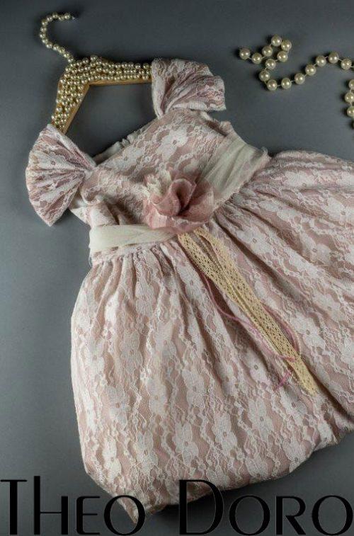 Baby Girl Pink Mermaid Lace Floral Baptismal Dress