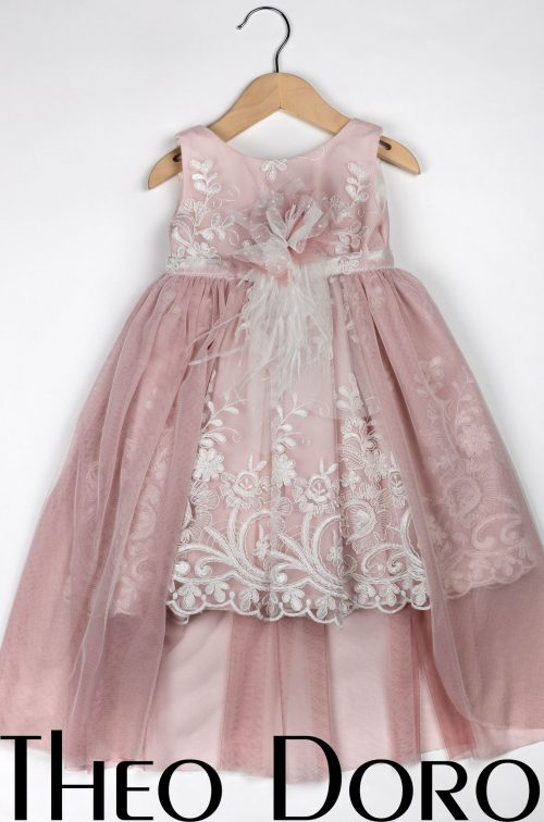 Baby Girl Pink Stunning Lace Floral Baptismal Dress