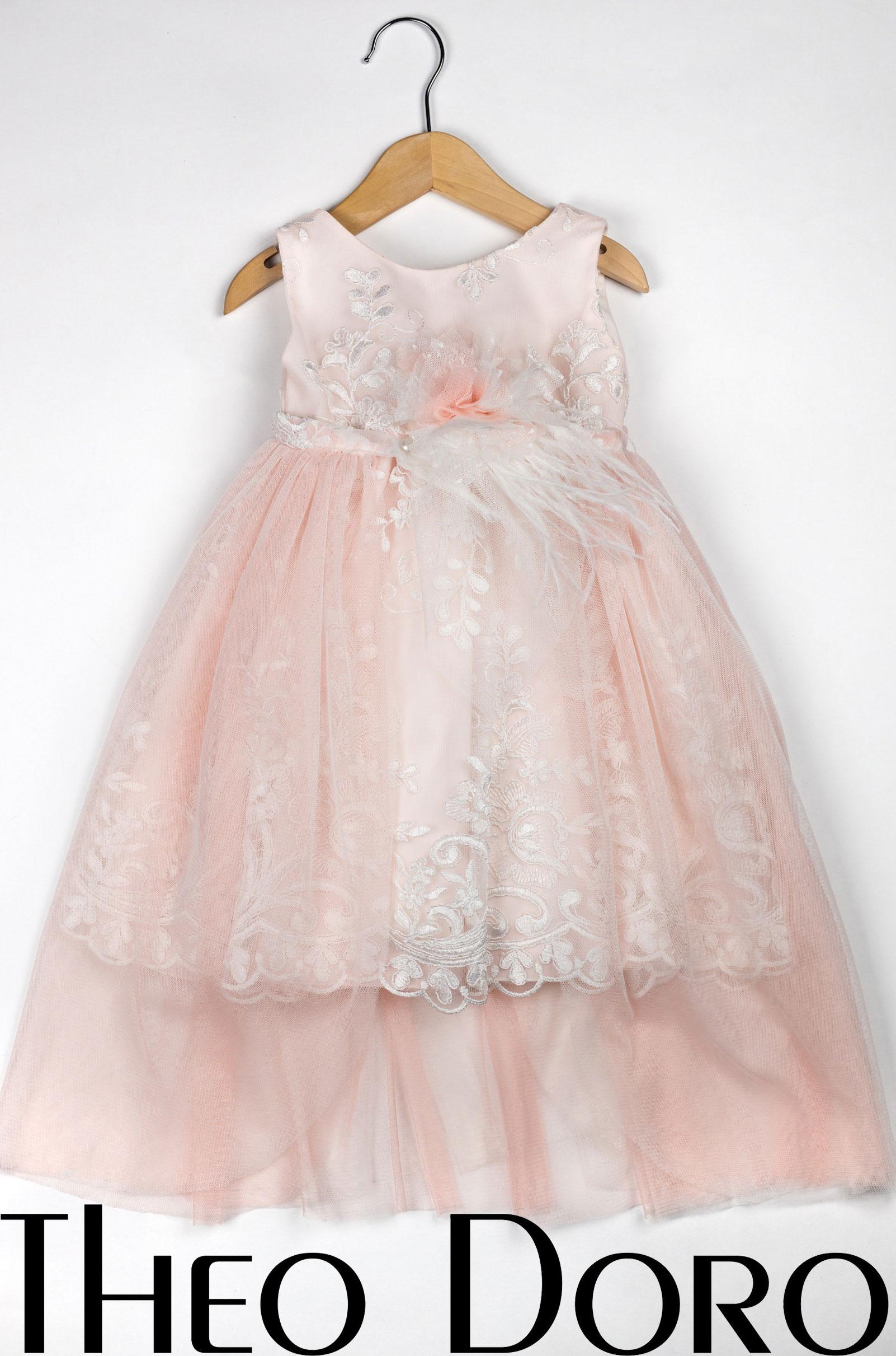Baby Girl Light Pink Stunning Lace Floral Baptismal Dress