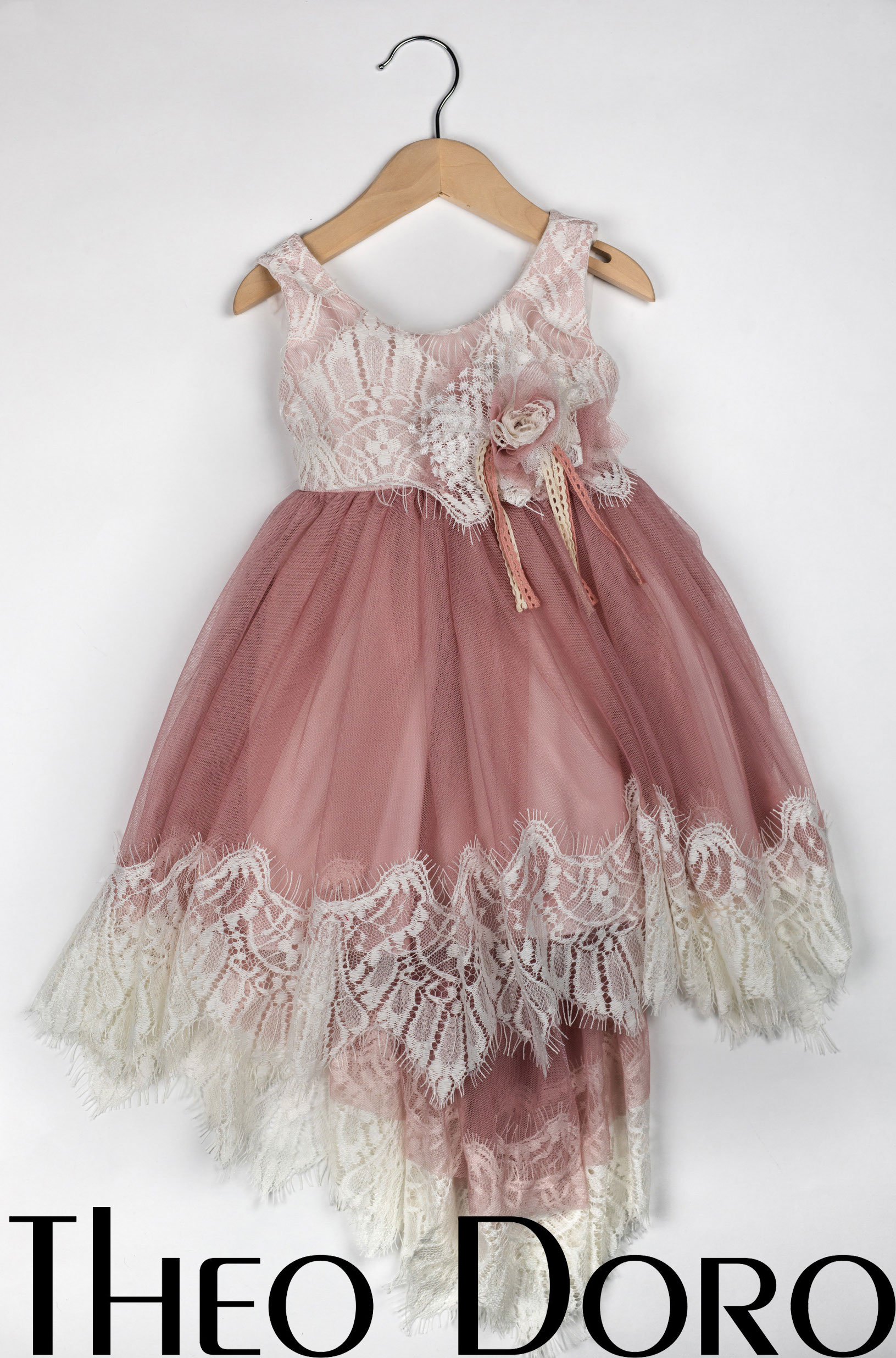 Baby Girl Pink Fine Lace Floral Baptismal Dress