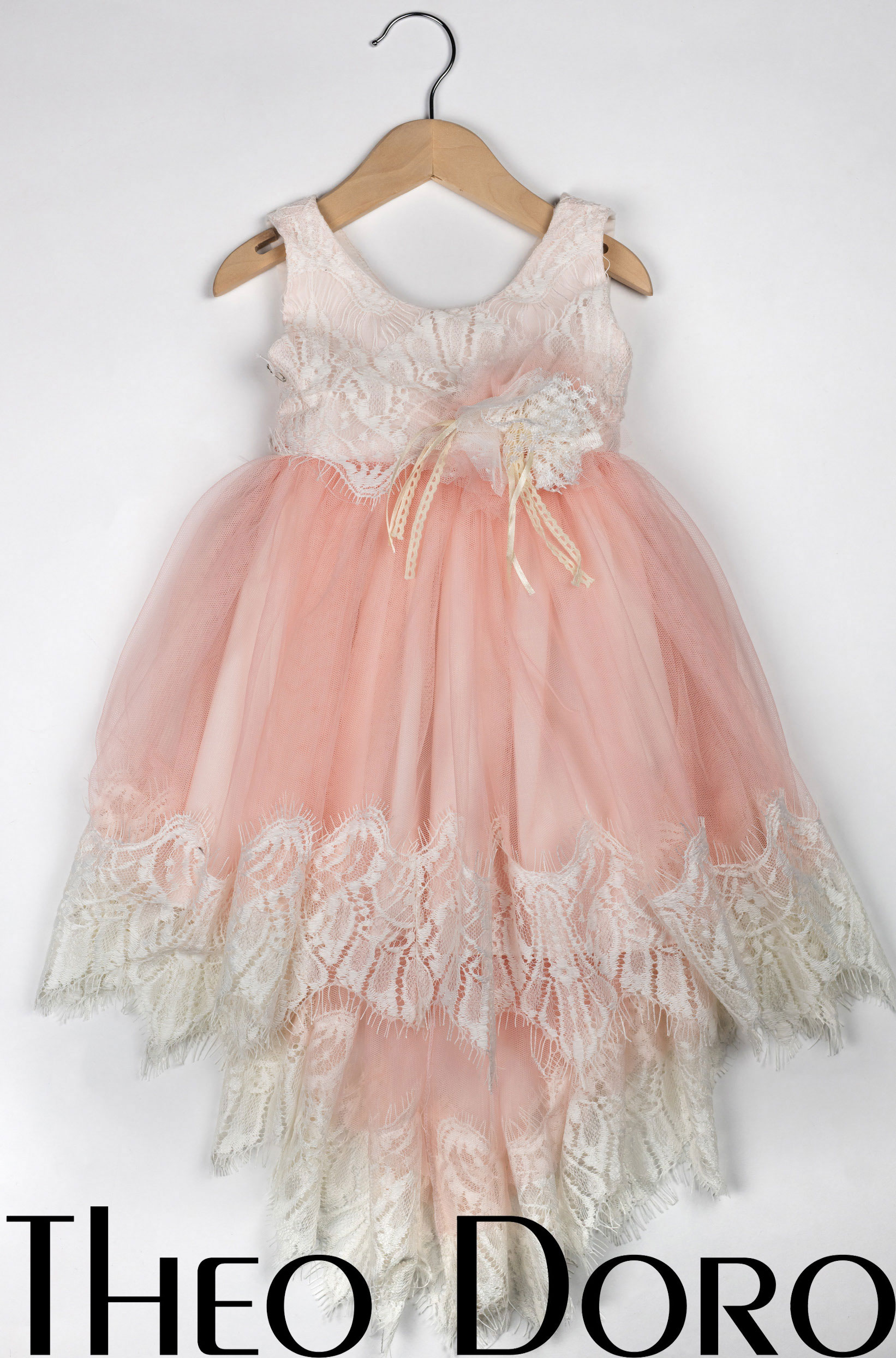 Baby Girl Light Pink Fine Lace Floral Baptismal Dress