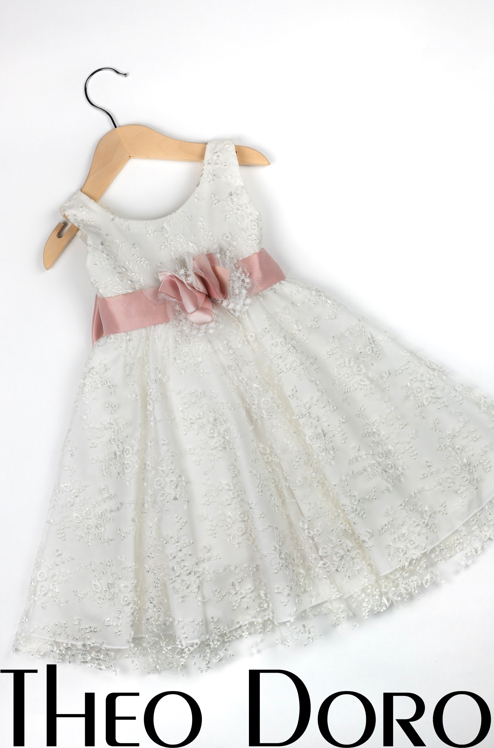 Baby Girl White Floral Baptismal Dress with Pink Bow