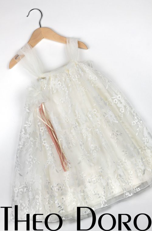 Baby Girl White Lace Floral Baptismal Dress with Ribbon