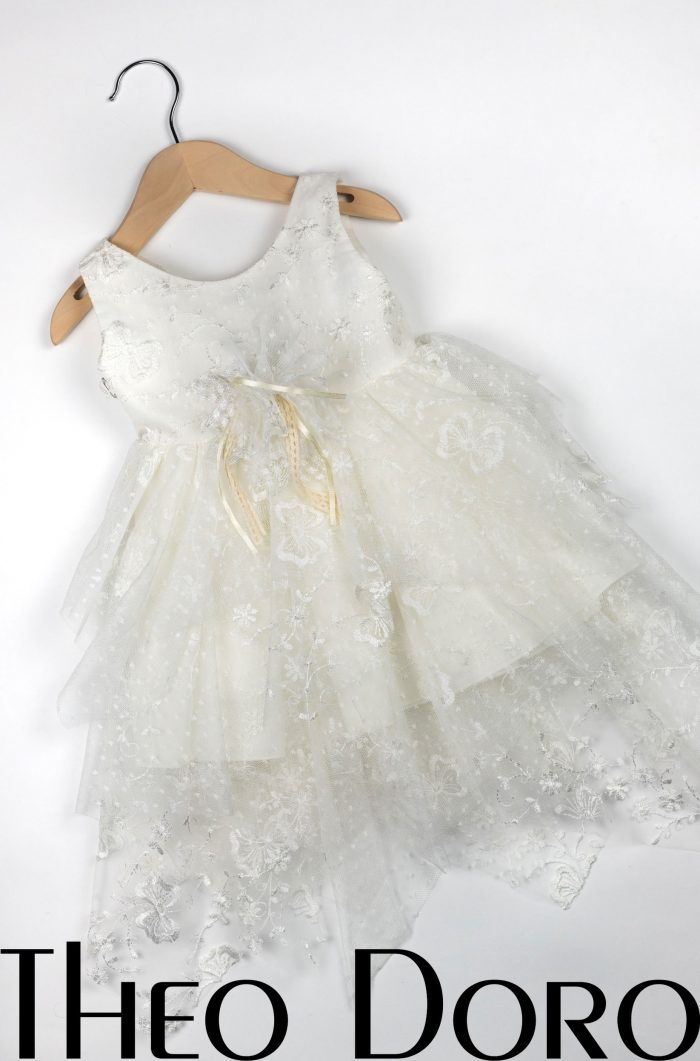Baby Girl White Floral Baptismal Dress with Ribbon