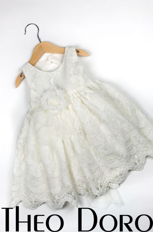 Baby Girl White Floral Baptismal Dress with Flower
