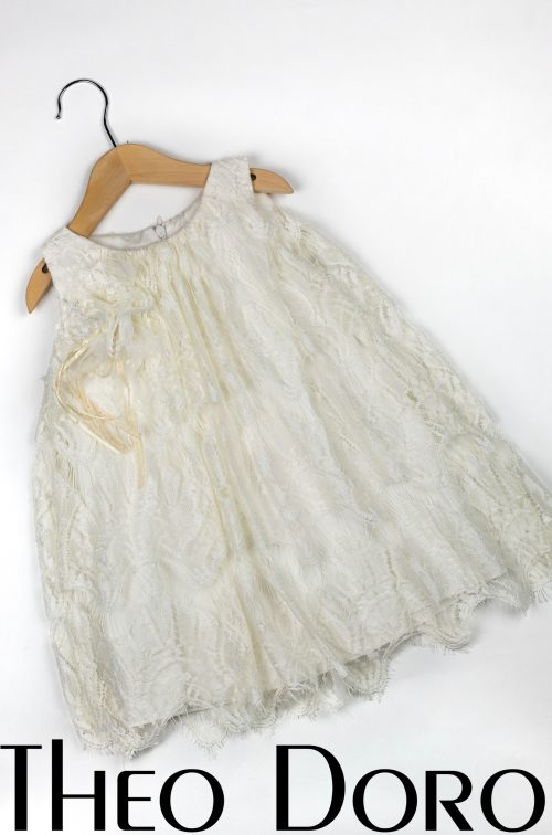Baby Girl White Baptismal Dress with Ornate Lace