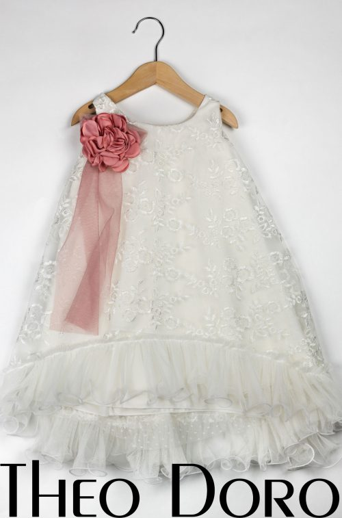 Baby Girl White Baptismal Dress with Pink Rose Blossom