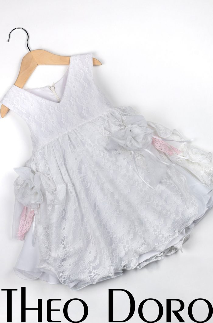 Baby Girl White Floral Baptismal Dress with Ruffles