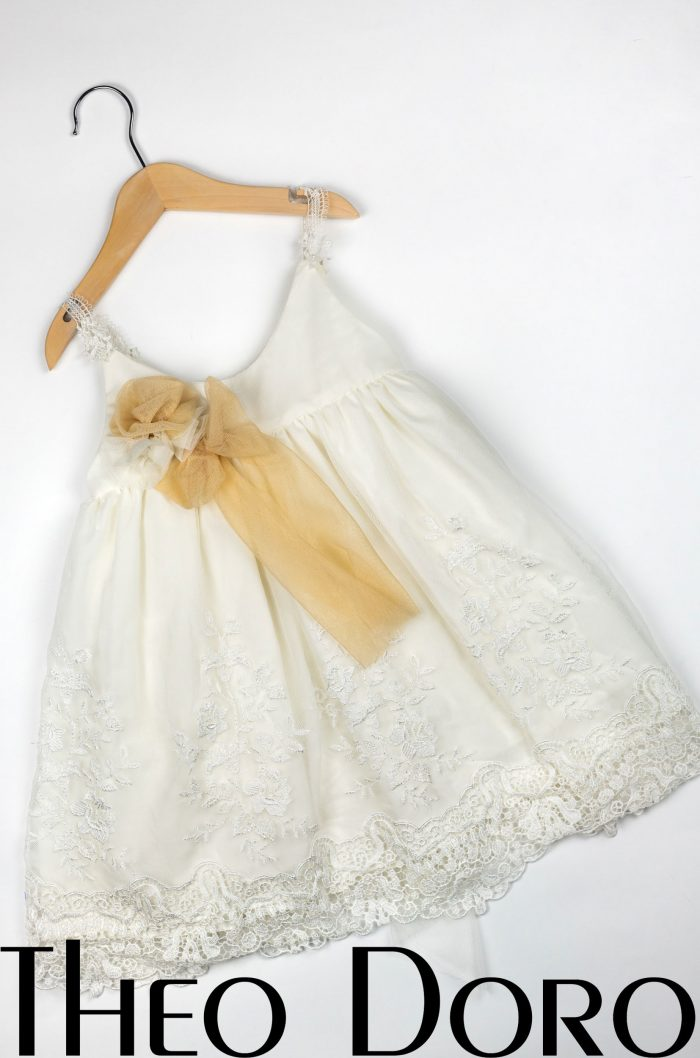 Baby Girl White Floral Baptismal Dress with Gold Ribbon