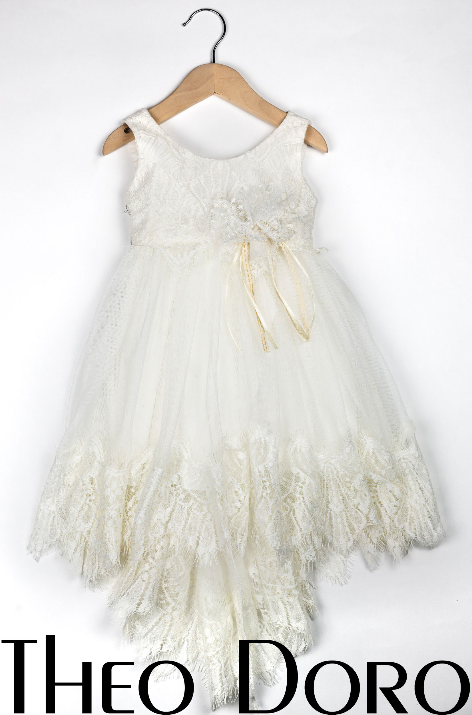 Baby Girl White Fine Lace Floral Baptismal Dress