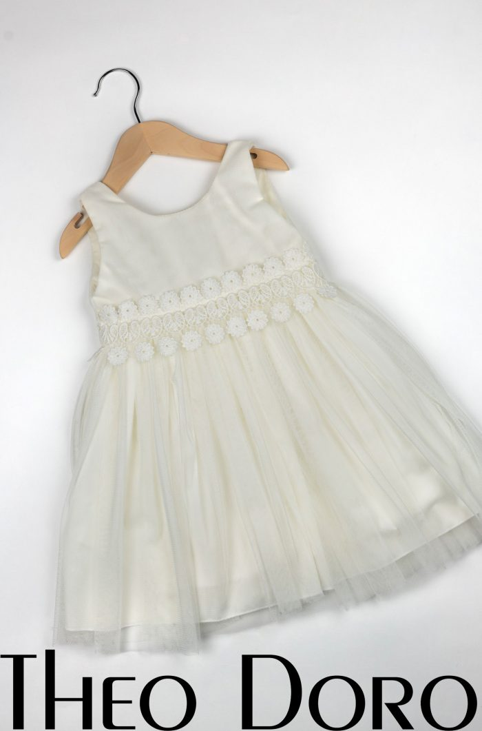 Baby Girl White Baptismal Dress with Flowers