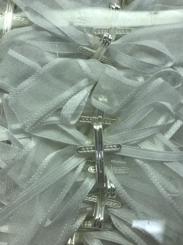 Witness Pins Cross Ribbon White (50 Pack)