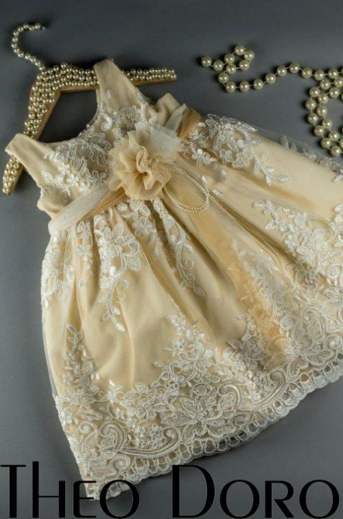 Baby Girl Yellow Elegant Floral Baptismal Dress