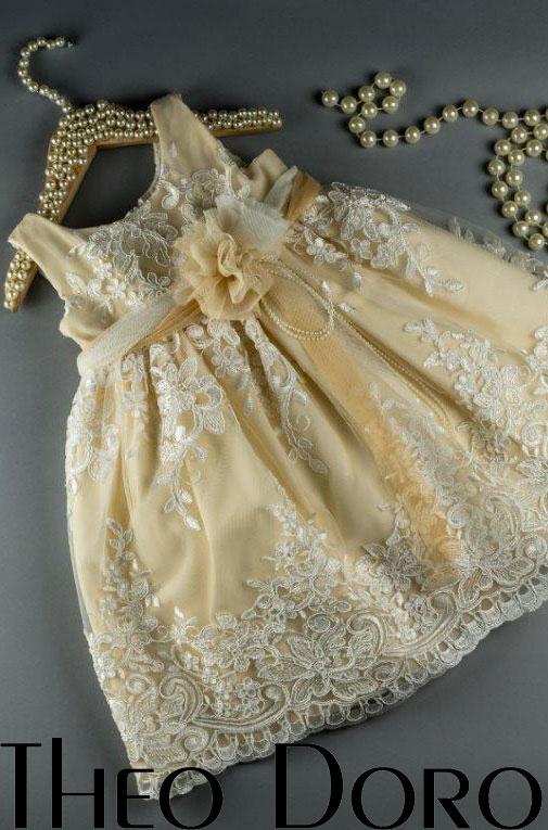Baby Girl Yellow Elegant Floral Baptismal Dress