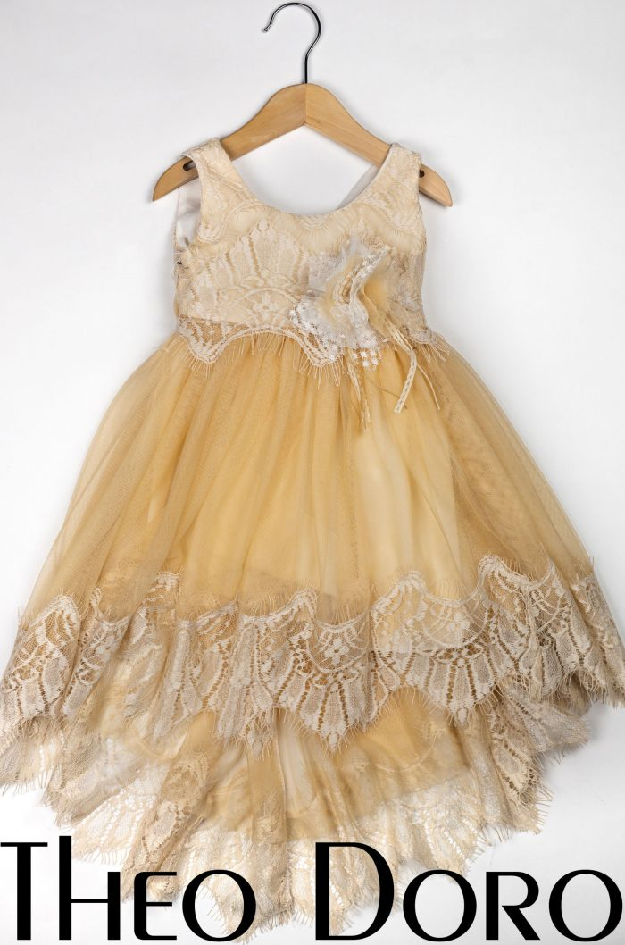 Baby Girl Yellow Fine Lace Floral Baptismal Dress